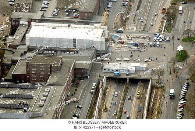 Aerial view, scaffolded central train station, A59 urban freeway, Duisburg, Ruhrgebiet region, North Rhine-Westphalia, Germany, Europe