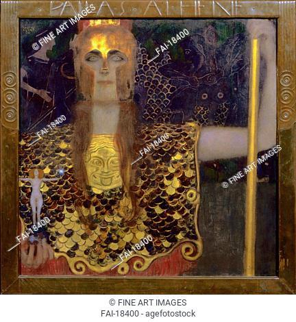 Pallas Athena. Klimt, Gustav (1862-1918). Oil on canvas. Art Nouveau. 1898. Vienna Museum. 75x75. Painting