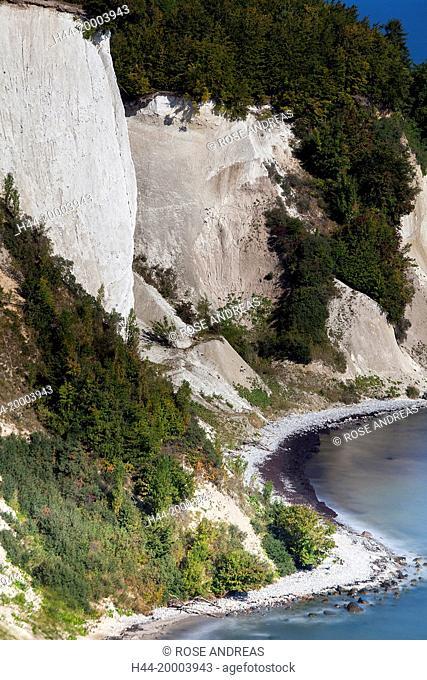 Chalk rocks, chalk cliff coast Baltic coast national park