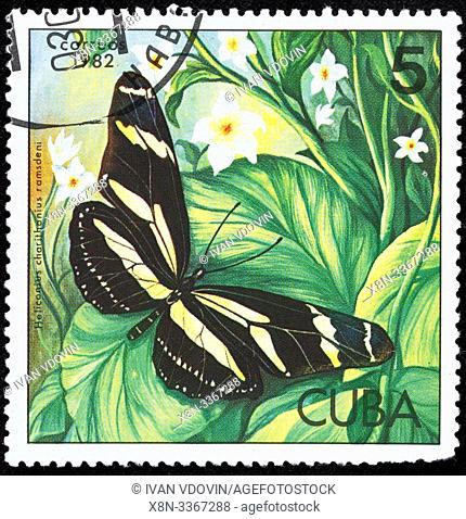 Zebra Longwing, Heliconius charithonia, postage stamp, Cuba, 1982