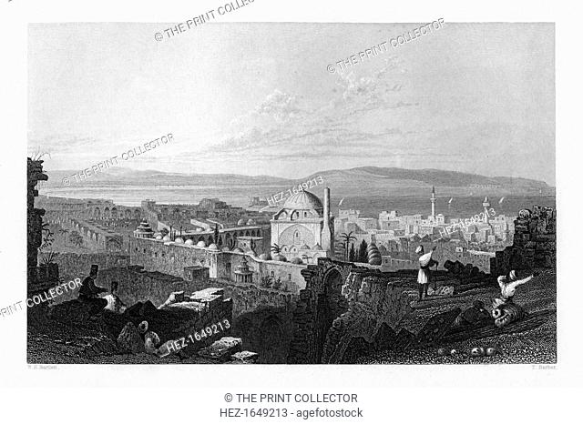 St Jean D'Acre, Israel, 1841. Mount Carmel can be seen in the distance. From Syria, the Holy land and Asia Minor, volume I, by John Carne, published by Fisher