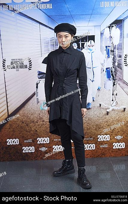 Chacha Huang attends '2020' Documental Movie Exclusive Premiere at Wizink Center on November 26, 2020 in Madrid, Spain