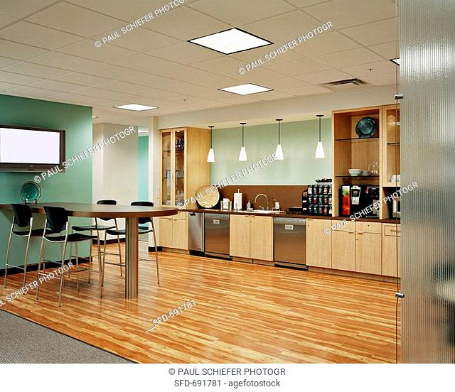 Large Open-Space Kitchenette/Breakroom with Wood Floors