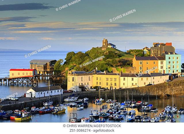 Evening light over Tenby Harbour Tenby Pembrokeshire Wales