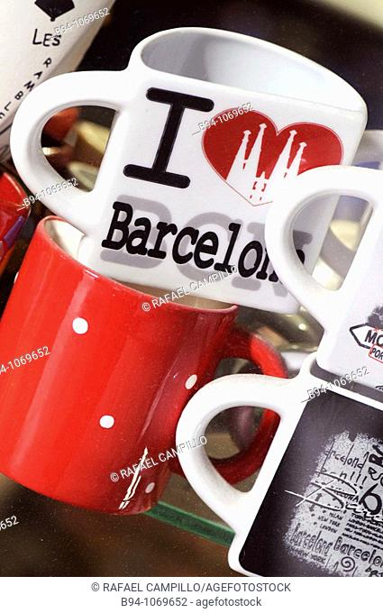 Souvenir cups from Barcelona. Catalonia, Spain