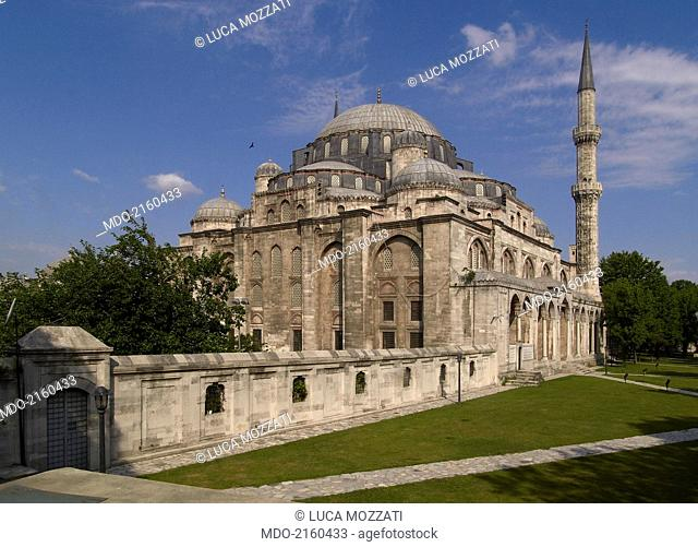 ?ehzade Mosque (?ehzade Camii), by Mimar Sinan, 1543-1548, 16th Century, marble and granite building. Turkey, Istanbul. Whole artwork view