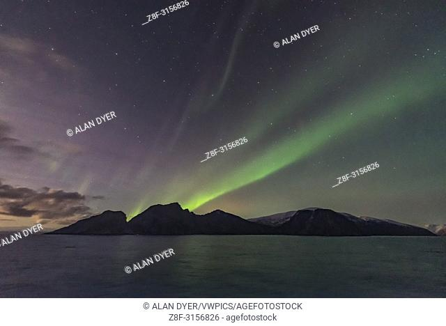 A dim but photogenic aurora on November 7, from the coast of Norway on the Hurtigruten ship the m/s Nordlys, in a view looking south to Pegasus and Andromeda