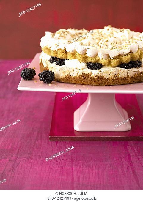 A blackberry meringue cake