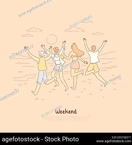 People running into sunset together, group of friends having fun at beach, spending quality time on vacation banner. Weekend