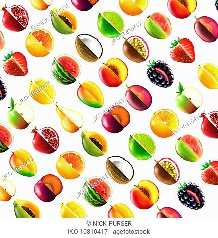 Full frame pattern of lots of bisected fruit showing cross sections