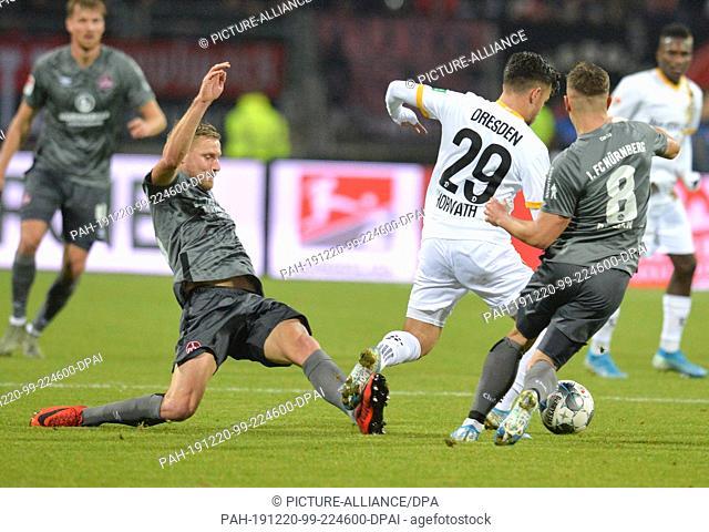 20 December 2019, Bavaria, Nuremberg: Football: 2nd Bundesliga, 1st FC Nürnberg - Dynamo Dresden, 18th matchday at the Max Morlock Stadium