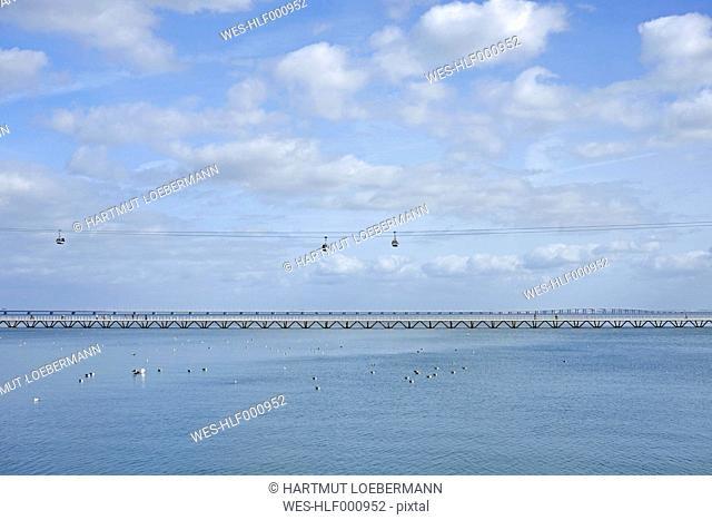 Portugal, Lisbon, view to cable car and Vasco da Gama bridge