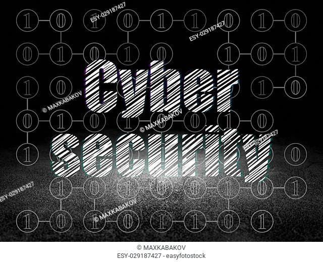 Protection concept: Glowing text Cyber Security in grunge dark room with Dirty Floor, black background with Scheme Of Binary Code, 3d render