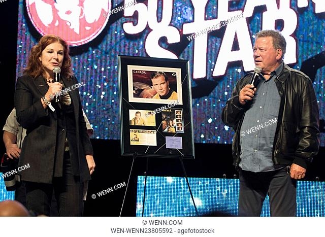 William Shatner is presented with a Commemorative stamp collection from Canada Post celebrating 50 Years of Star Trek Featuring: William Shatner Where: Calgary