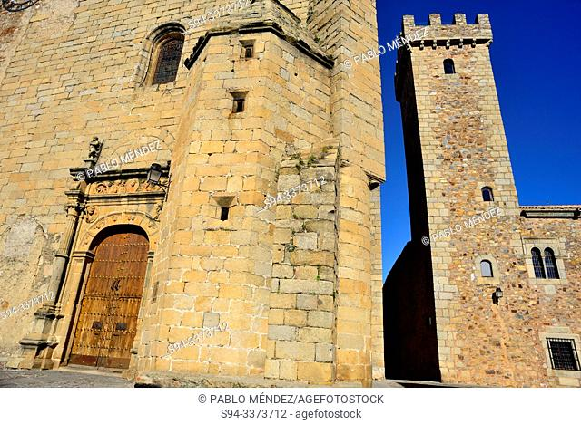 Palace of the Storks and San Mateo church in Caceres, Spain