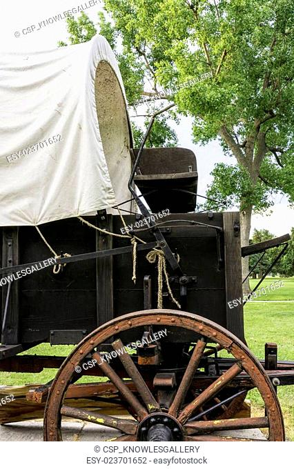 Rustic covered wagon used for travel