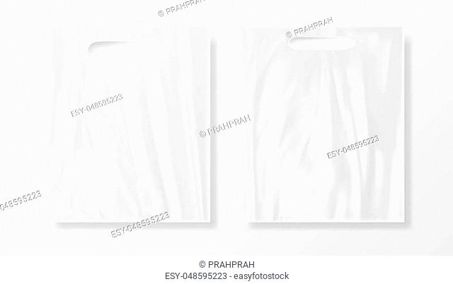 Blank Plastic Bag Mock Up. Empty Polyethylene Package. EPS10 Vector