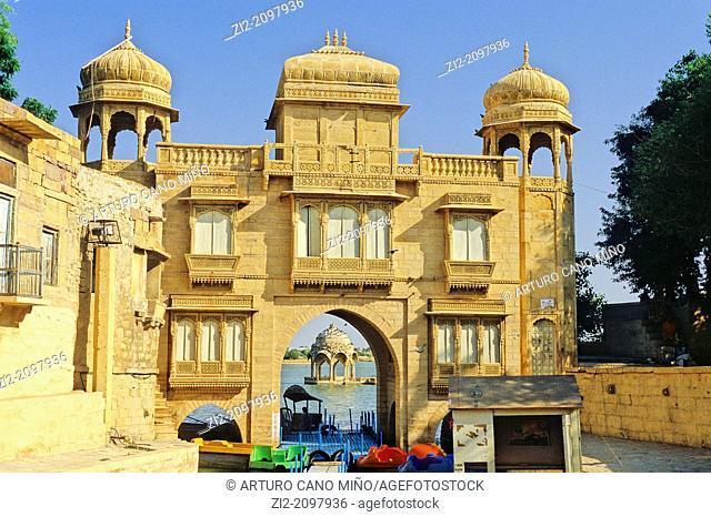 The entrance to Gadisagar Lake, Jaisalmer, Rajasthan state, India