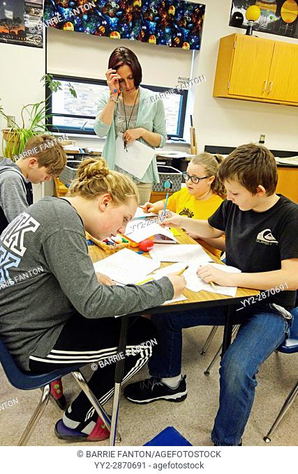 6th Graders Doing Geometry Lesson, Wellsville, New York, USA