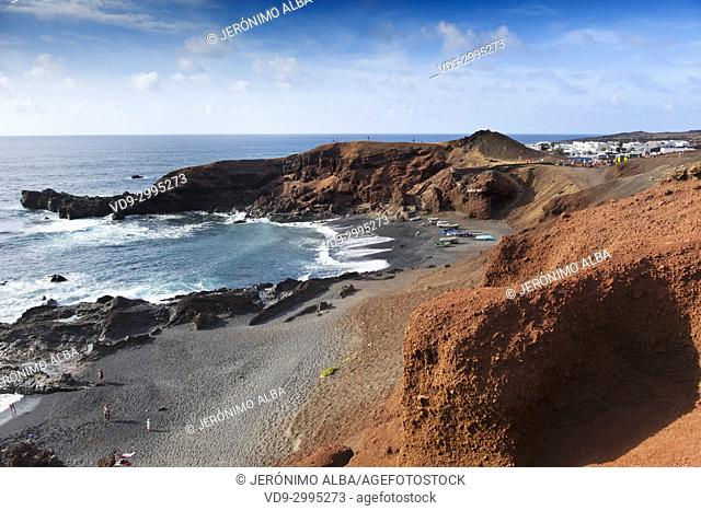 Beach, El Golfo. Lanzarote Island. Canary Islands Spain. Europe