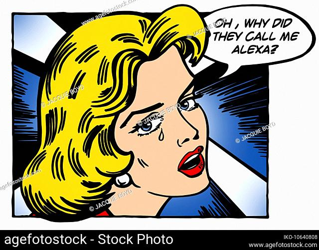 Close up of beautiful woman unhappy at being called Alexa
