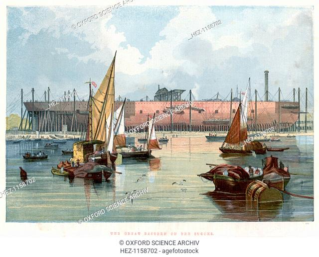 'Great Eastern' on the stocks at Millwall on the Thames, 1857. Broadside view from the river showing the vessel in John Scott Russell's (1808-1882) yard