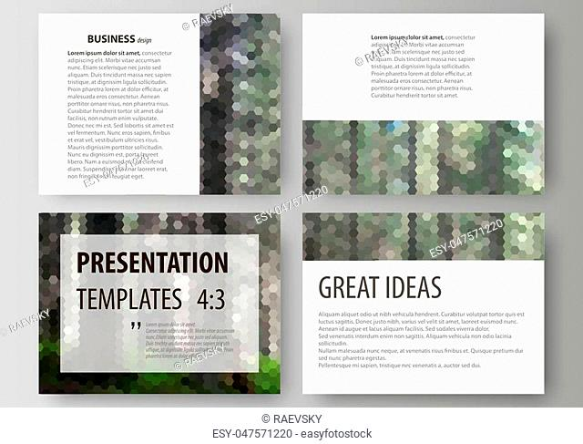 Set of business templates for presentation slides. Easy editable abstract vector layouts in flat design. Colorful background made of hexagonal texture for...