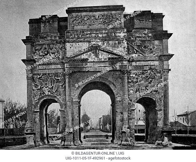 Early autotype triumphal arch of orange, unesco world heritage site, orange, vaucluse, france, historical picture, 1884