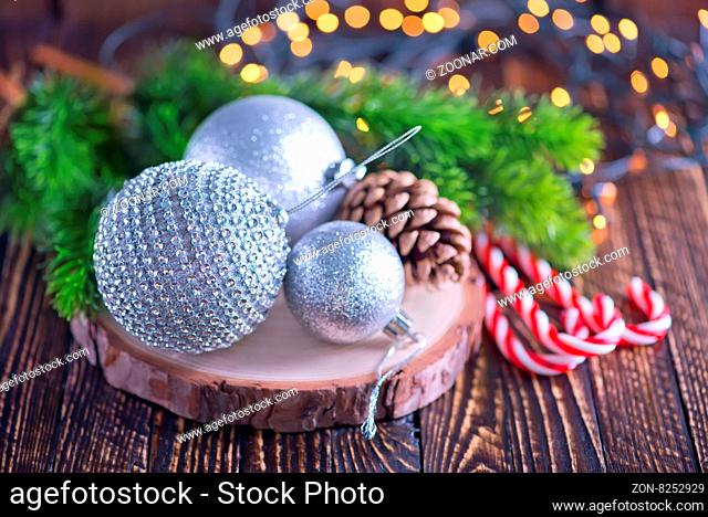 christmas decoration on a table, christmas background