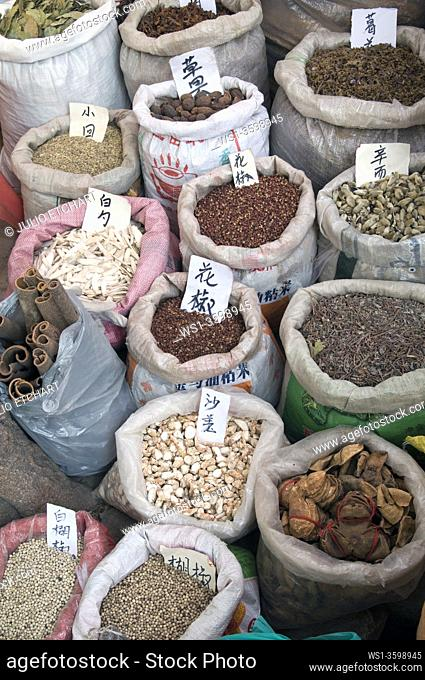 CHINA Stalls selling herbs and spices in the old quarter in Guangzhou, Guangdong province. . Photo by Julio Etchart