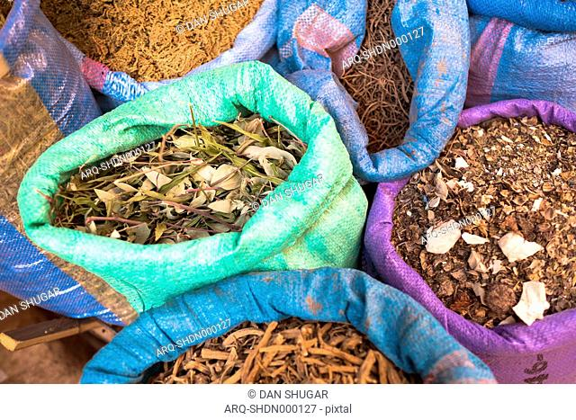 Bags Of Spices And Tea For Sale At Market Stall