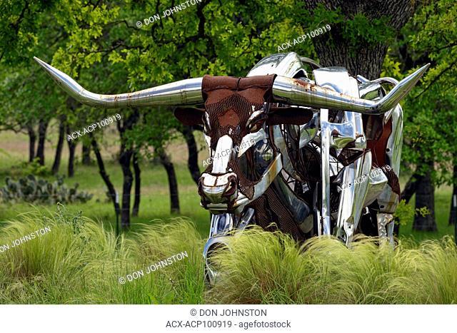 Metal sculpture of a Texas long-horn, Johnson City, Texas, USA