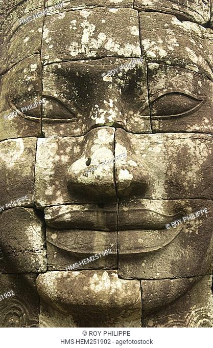 Cambodia, Siem Reap Province, Angkor site listed as World Heritage by UNESCO, former city of Angkor Thom, Bayon Temple built by King Jayavarman VII