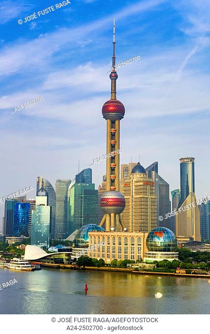 China, Shanghai City,Pudong District skyline, Oriental Pearl TV Tower