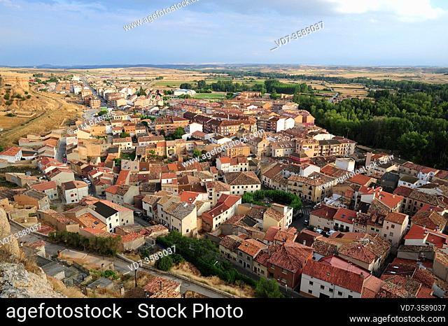 San Esteban de Gormaz, aerial view from the castle. Soria province, Castilla y Leon, Spain