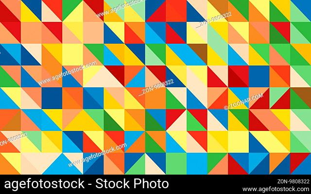 Abstract raibow colorful lowploly of many triangles background for use in design