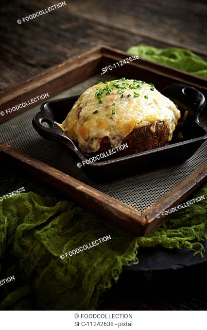Truffle twice baked potato, cheese and chives