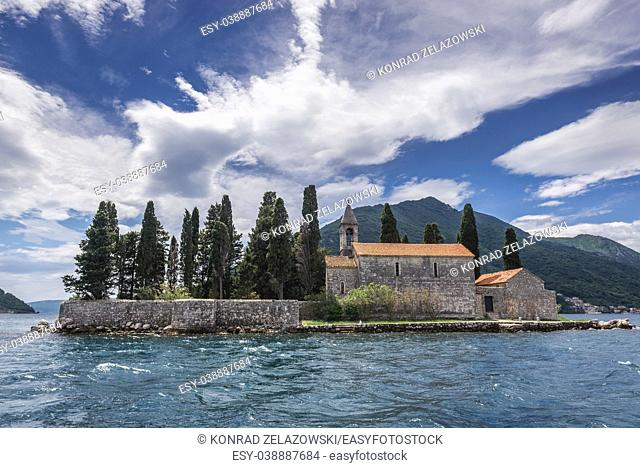 Island of Saint George with church of Benedictine monastery, one of the two islets of the coast of Perast town in the Bay of Kotor, Montenegro