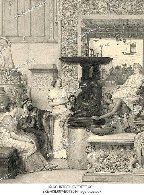 Print based on a Lawrence Alma Tadema 1836-1912 painting, showing a Roman family of men, women, and children admiring a sculpture on a pedestal being rotated by...