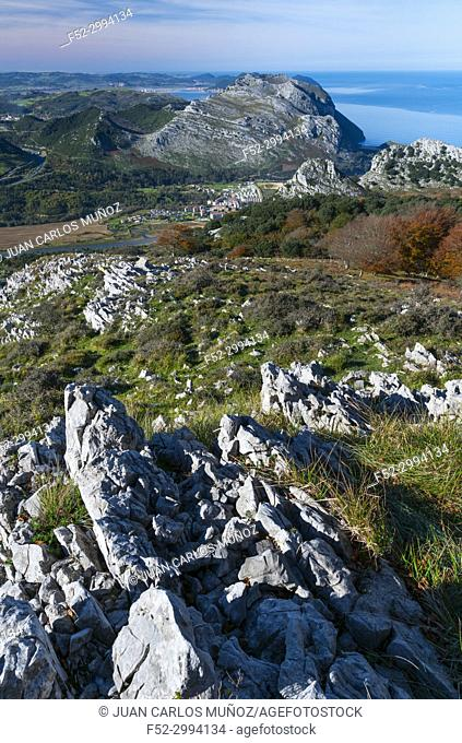 View of Mount Candina from Mount Cerredo, Beech forest in autumn at Cerredo Mountain, Cantabrian Sea, MONTAÑA ORIENTAL COSTERA MOC, Castro Urdiales, Cantabria