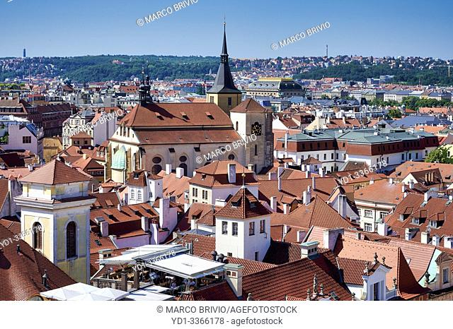 Prague Czech Republic. Aerial view of the old town