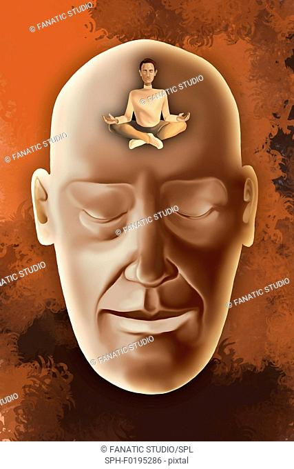 Illustration of human face with eyes closed