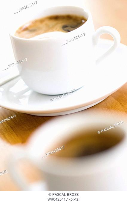 Close-up of a cup of espresso coffee on a saucer