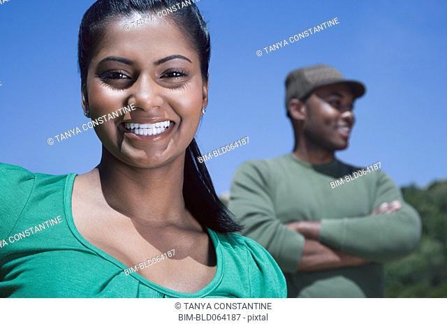 Multi-ethnic couple outdoors