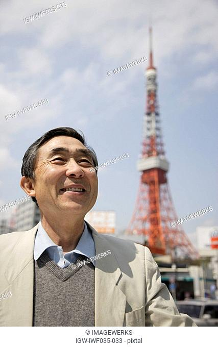 View of a businessman smiling