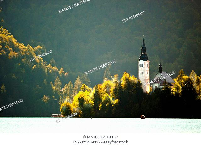 Panorama of Lake Bled's island in autumn