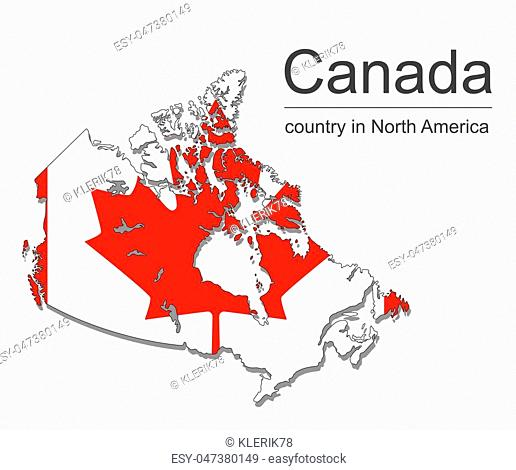 Canada map and flag on black background, vector illustration