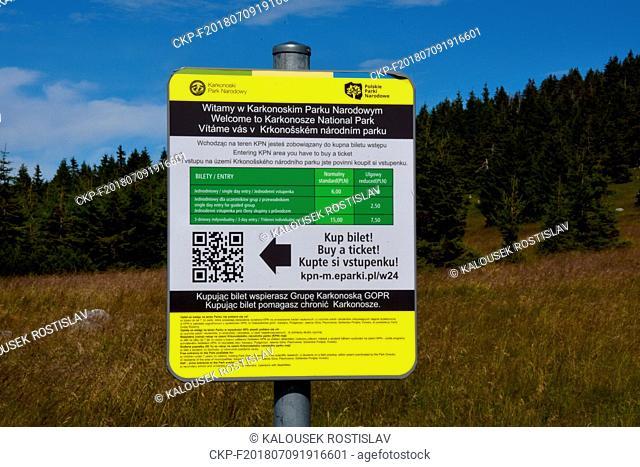 Fees for entry to the Polish part of the Krkonose National Park, Czech Republic, 2018. (CTK Photo/Rostislav Kalousek)