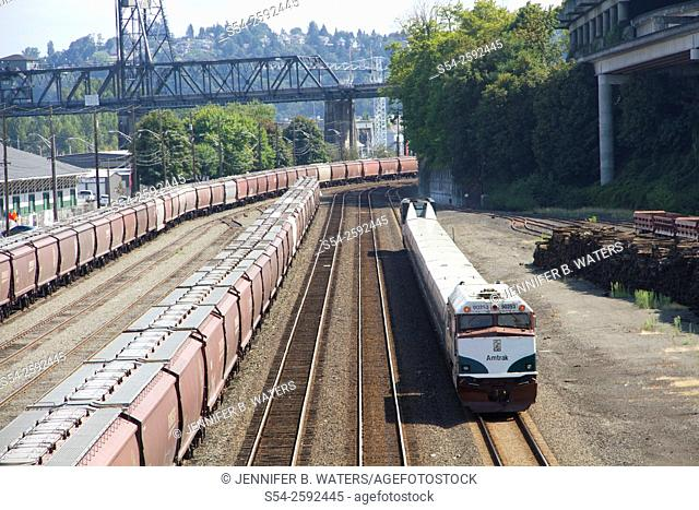 The Amtrak Cascade Talgo passenger train just west of downtown Tacoma, Washington, headed south toward Portland, Oregon, USA