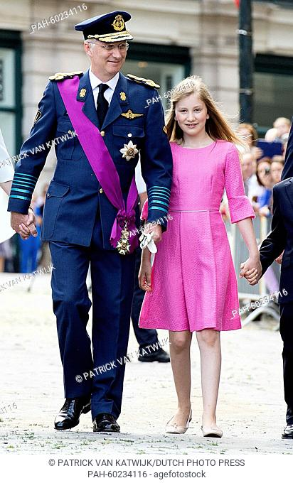 King Philippe of Belgium and Crown Princess Elisabeth after the Te Deum mass at the Cathedral of St. Michael and St. Gudula in Brussels, Belgium, 21 July 2015